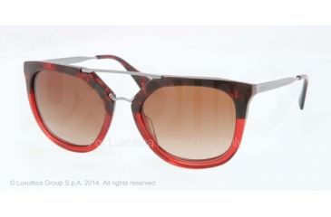 Prada CINEMA' PR13QS Single Vision Prescription Sunglasses PR13QS-RO01Z1-54 - Lens Diameter 54 mm, Frame Color Red Havana Grad Red