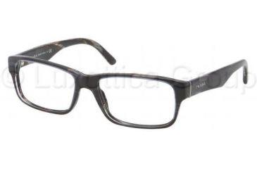Prada Eyeglasses PR16MV with No-Line Progressive Rx Prescription Lenses EAR1O1-5316 - Top Striped Blue / Horn Frame