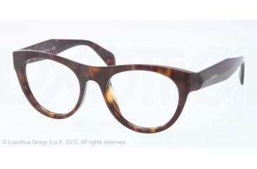Prada JOURNAL PR02QV Single Vision Prescription Eyeglasses 2AU1O1-50 - Havana Frame