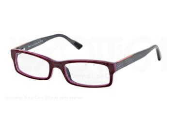 Prada Linea Rosa Eyeglasses PS10AV with No-Line Progressive Rx Prescription Lenses TIP1O1-52 - Top Bordx/fuxia/grey Frame