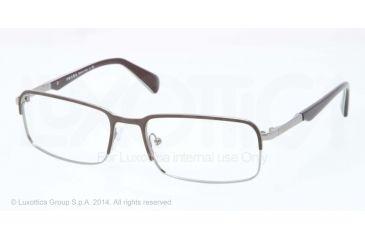 Prada MINIMAL CONCEPT PR61QV Eyeglass Frames LAH1O1-56 - Top Matte Brown/gunmetal Frame