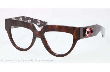Prada POEME PR07QV Single Vision Prescription Eyeglasses 2AU1O1-52 - Havana Frame