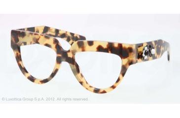 Prada POEME PR07QV Single Vision Prescription Eyeglasses 7S01O1-52 - Medium Havana Frame