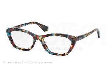 Prada PORTRAIT PR03QV Eyeglass Frames NAG1O1-52 - Havana Spotted Blue Frame