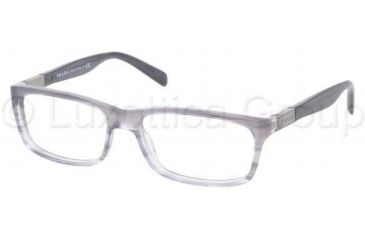 b25ebe832df1 Prada PR02OV Eyeglass Frames EAJ1O1-5316 - Rule Gray Rule Denim Frame