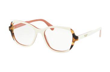 f6f18eaee2f Prada PR03VV Eyeglass Frames 0R91O1-52 - Top Ivory Pink Medium Havana Frame