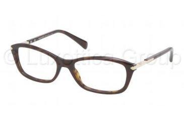 Prada PR04PV Single Vision Prescription Eyeglasses 2AU1O1-5217 - Havana Frame