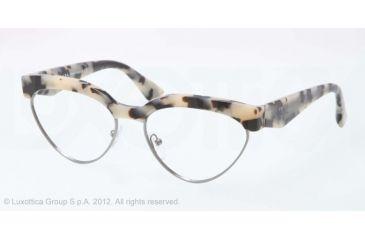 Prada PR05QV Eyeglass Frames KAD1O1-54 - White Havana/gunmetal Frame