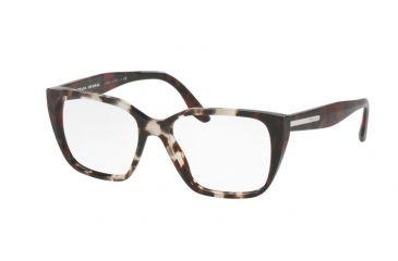 15f04830828 Prada PR08TV Eyeglass Frames U6K1O1-53 - Spotted Op Brown spotted Red Frame