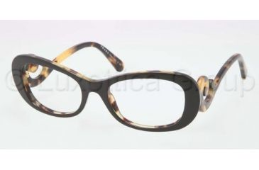 Prada PR09PV Progressive Prescription Eyeglasses NAI1O1-5219 - Top Black/Medium Havana Frame, Demo Lens Lenses