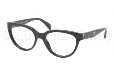 Prada PR10PV Single Vision Prescription Eyeglasses 1AB1O1-5017 - Black Frame