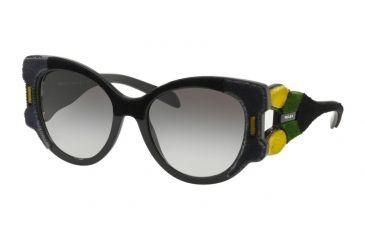 66b7f3bc26c95 Prada PR10US Sunglasses 32V0A7-54 - Black green yellow Frame