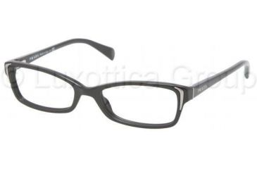 Prada PR12OV Single Vision Prescription Eyeglasses 1AB1O1-5117 - Black Frame
