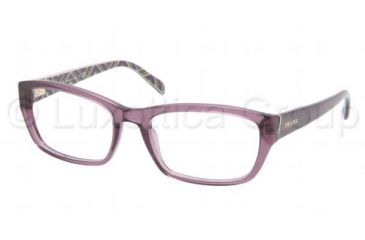 Prada PR18OV Progressive Prescription Eyeglasses 7WR1O1-5218 - Transparent Violet Frame