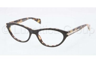 Prada PR18PV Progressive Prescription Eyeglasses NAI1O1-5217 - Top Black/Medium Havana Frame, Demo Lens Lenses