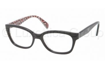 Prada PR20PV Single Vision Prescription Eyeglasses MAS1O1-5217 - Top Black Frame, Demo Lens Lenses