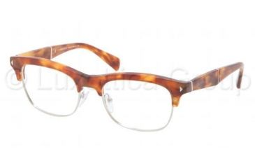 Prada PR22OV Single Vision Prescription Eyeglasses 4BW1O1-5219 - Light Havana Frame