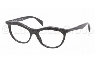 Prada PR22PV Single Vision Prescription Eyeglasses 1AB1O1-5216 - Black Frame
