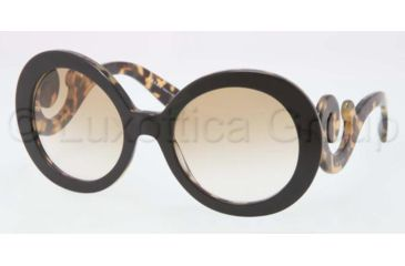 Prada PR27NS Sunglasses NAI9S1-5522 - Top Black/Medium Havana Frame, Brown Gradient Lenses