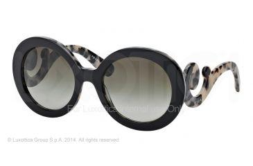 Prada PR27NS Sunglasses ROK4M1-55 - Top Black/white Havana Frame, Green Gradient Lenses