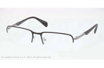 Prada PR59QV Eyeglass Frames 1BO1O1-55 - Matte Black/gunmetal Frame