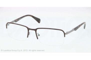 Prada PR59QV Eyeglass Frames LAH1O1-53 - Matte Brown/gunmetal Frame