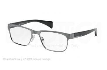 Prada PR61PV Progressive Prescription Eyeglasses DHG1O1-53 - Antique Brushed Gunmet Frame