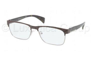 Prada PR61PV Progressive Prescription Eyeglasses KAG1O1-5316 - Brown / Gunmetal Frame, Demo Lens Lenses