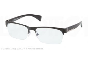 Prada PR67PV Single Vision Prescription Eyeglasses 7AX1O1-54 - Black Frame, Demo Lens Lenses