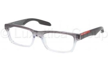 Prada PS07CV Progressive Prescription Eyeglasses JAU1O1-5518 - Striped Gray Demo Lens Frame