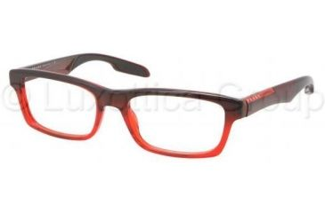 Prada PS07CV Progressive Prescription Eyeglasses JAV1O1-5518 - Striped Red Frame