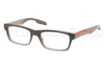 Prada PS07CV Progressive Prescription Eyeglasses LAN1O1-5318 - Gray Gradient White Frame, Demo Lens Lenses