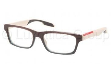Prada PS07CV Progressive Prescription Eyeglasses LAO1O1-5518 - Brown Gradient Green Frame, Demo Lens Lenses