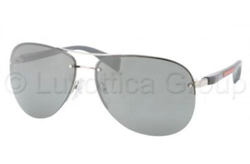 Prada PS56MS Sunglasses 1BC7W1-6214 - Silver Frame, Gray Silver Mirror Lenses
