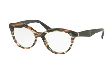 1ad3840bae23 Prada TRIANGLE PR11RV Eyeglass Frames VAO1O1-52 - Sheaves Grey Brown Frame