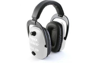 Pro-Ears Pro Slim Gold Electronic Earmuffs, White