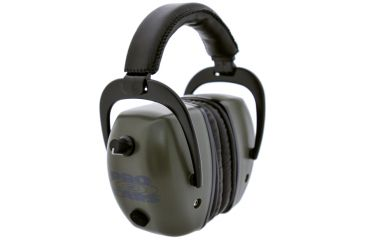 Pro Ears Pro Tac Mag Gold NRR 30 Hearing Protection Earmuffs, Green w/Lithium Batteries