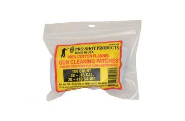 Pro-Shot Cotton Flannel Patches .38-.45 Caliber/20-.410 Gauge 2.25 Inch Square 100 Per Bag