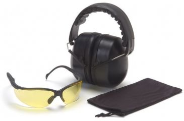 Pyramex Combo Packs Venture II Amber Safety Glasses w/ PYRBAG and PM3010 Ear Muff COMBO30