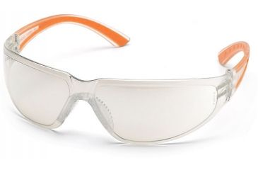 Pyramex Cortez Safety Glasses - Indoor/Outdoor Mirror Lens, Orange Temples Frame SO3680S