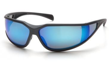 Pyramex Exeter Safety Glasses - Ice Blue Mirror Anti-Fog Lens, Charcoal Gray Frame SCG5165DT