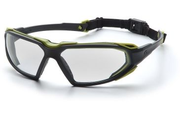 Pyramex Highlander Safety Glasses - Clear Anti-Fog Lens, Black-Lime Frame SBL5010DT