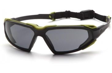 Pyramex Highlander Safety Glasses - Gray Anti-Fog Lens, Black-Lime Frame SBL5020DT