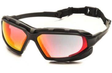 Pyramex Highlander-XP Safety Glasses, Black-Gray Frame & Sky Red Mirror Anti-Fog Lens SBG5055DT