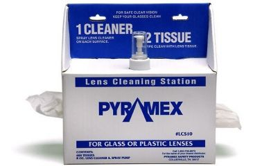 Pyramex Lens Cleaning Station w/ 8oz Cleaning Solution / 600 tissues LCS10