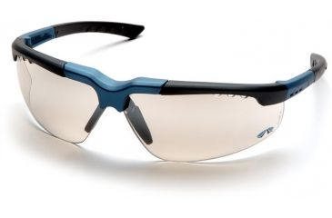 Pyramex Reatta Safety Glasses - Indoor/Outdoor Mirror Lens, Blue-Charcoal Frame SNC4880D