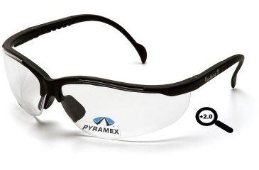 Pyramex V2 Reader Glasses - Clear + 2.0 Lens, Black Frame SB1810R20