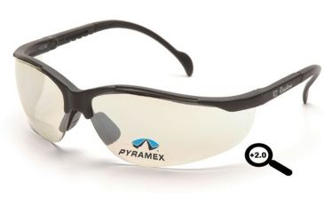 Pyramex V2 Readers Eyewear - Indoor/Outdoor Mirror + 2.0 Lens, Black Frame SB1880R20