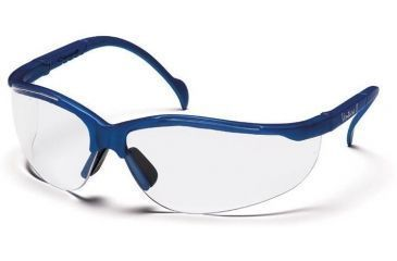 Pyramex Venture II Safety Glasses - Clear Lens, Metallic Blue Frame SMB1810S