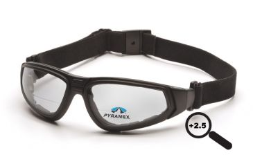 Pyramex XSG reader Goggles/Glasses - Black Frame, Clear Anti-Fog + 2.5 Lens